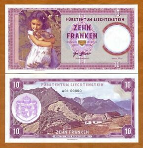 Liechtenstein-10-Francs-2019-Private-issue-Specimen-gt-Girl-with-a-Pet-Rabbit