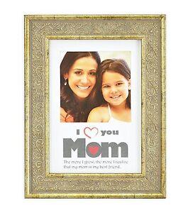 I Love Mom Framevintage Light Gold 5x7 Frame For 4x4 Photo