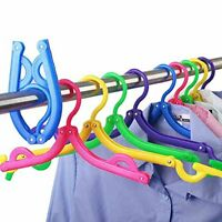 Pack Of 5 Folding Clothes Hangers Portable Plastic Travel Hanger With Anti-slip