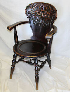 Magnificent Details About Antique Quarter Sawn Oak Single Arm Chair With Carved Laughing Face Interior Design Ideas Lukepblogthenellocom