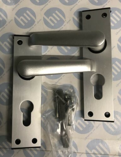 Anodised Brushed Silver Union Ambassador Door Handle Euro Profile Lock Plate