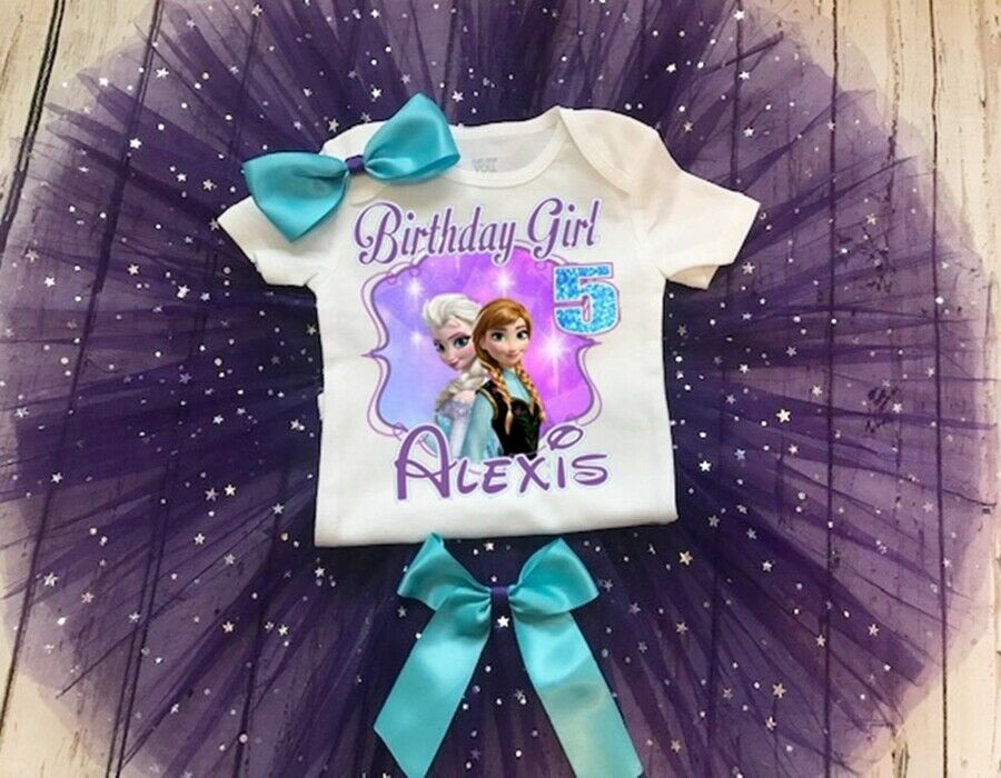 Frozen Elsa and Anna Birthday Glitter Tutu Outfit Party Dress Set