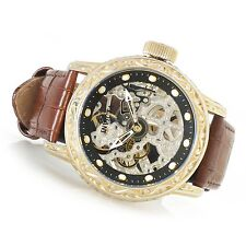 Invicta 52mm Excalibur 18602 Mechanical Leather Strap Watch MOP ,New