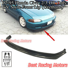 GV Style Front Lip (Urethane) Fits 92-95 Honda Civic 2dr