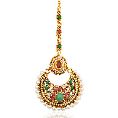 Beautiful kundan pearl polki mang tikka indian  hair jewelry ab46 FASHION EDH