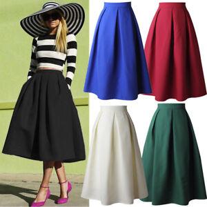 Women Lady Vintage High Waist Flared Skirt Pleated A Line Swing Midi Skirt Dress