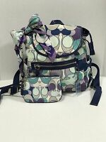 COACH Kyra Scarf Print Backpack #19279 With Matching Scarf & Wristlet