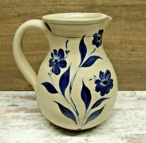 Williamsburg-Primitive-Pottery-Blue-Floral-Leaf-Salt-Glaze-Cobalt-Pitcher-8-3-8-034