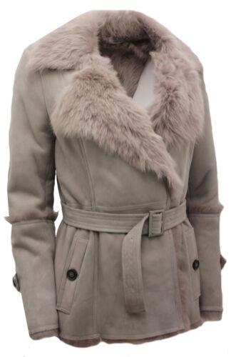 coat Femmes Ceinture Trench Mouton Toscana Avec Gris De Cravate Peau rBBCYqvw