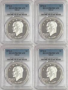 4-1976-S-Eisenhower-Ike-Silver-Dollar-PCGS-PR69DCAM-LOT-of-4