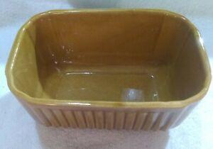 "Vintage Haegar 225 USA Pottery Ribbed Caramel Brown Ceramic Rectangle Planter 8"""