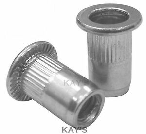Open End Knurled 6mm Threaded Rivet Insert Riv Nuts M6 Zinc Plated