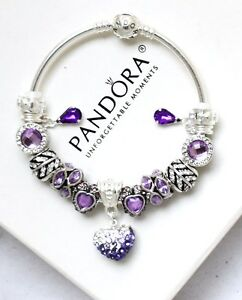 Image Is Loading Pandora Bangle Bracelet Silver Purple Crystal European Charms