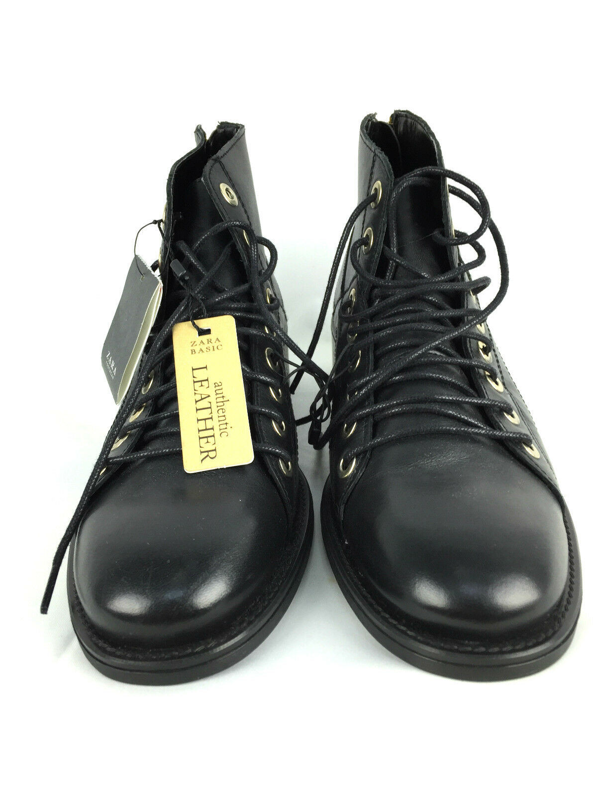 ZARA EUR BLACK LEATHER LACE-UP ANKLE Stiefel Schuhe EUR ZARA 37 39 40 447c6a