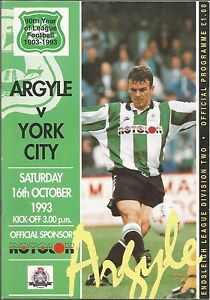 Football-Programme-Plymouth-Argyle-v-York-City-Div-2-16-10-1993