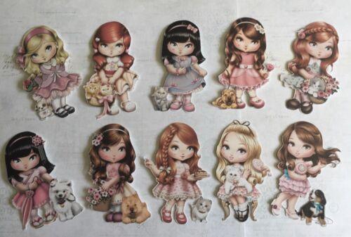Vintage Dolly Girls X10 Fabrication Carte Topper-Artisanat Die Cut