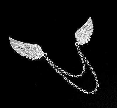 Unisex Gothic Punk Rock Shirt Collar Rhinestone Angel Wing Chain Neck Pin Brooch