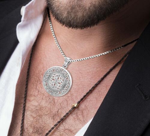 Nouveau Homme 15//16in Argent Sterling 0.925 Irlandais Celtique Entrelacs Pendentif