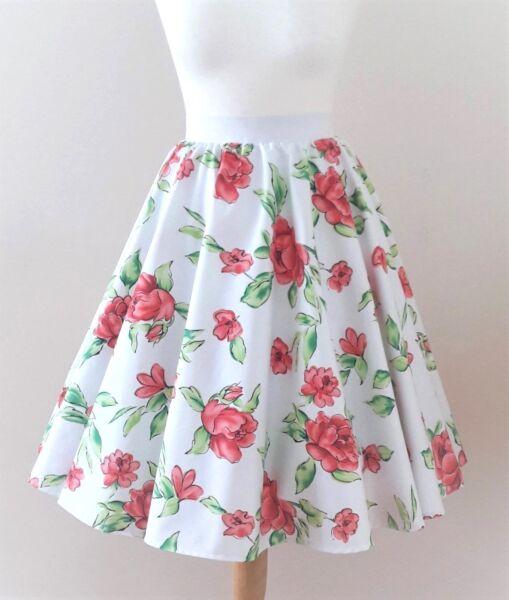 1950s Falda De Círculo Rosas Blancas Todos Los Tamaños-rockabilly Vintage Red Floral Vestido-ver Precio Loco