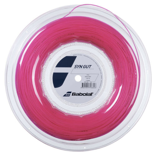 1.30mm//16G Babolat Synthetic Syn Gut Tennis Racket String 200m Reel Pink