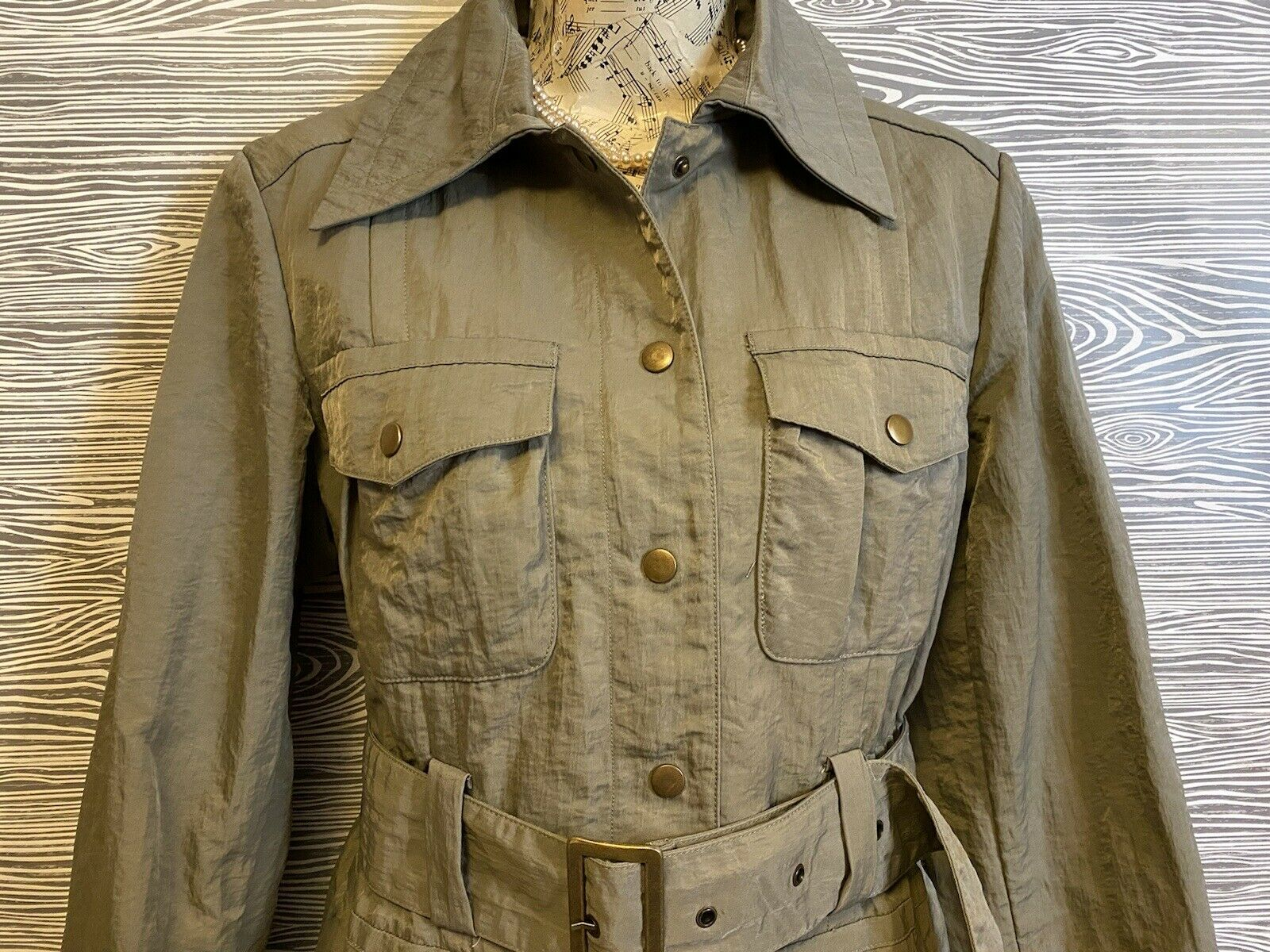 J Jill Olive Green SILKY BELTED Military TRENCH C… - image 8