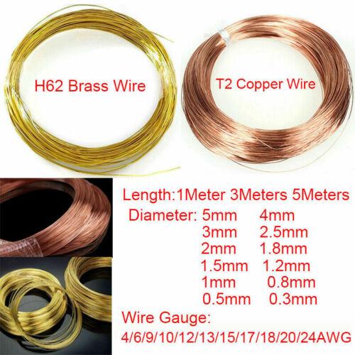 0.3//0.5//0.8//1//1.2//1.5//1.8//2//2.5//3mm Rein Messing Draht Kupfer Draht 1 3 5Meter