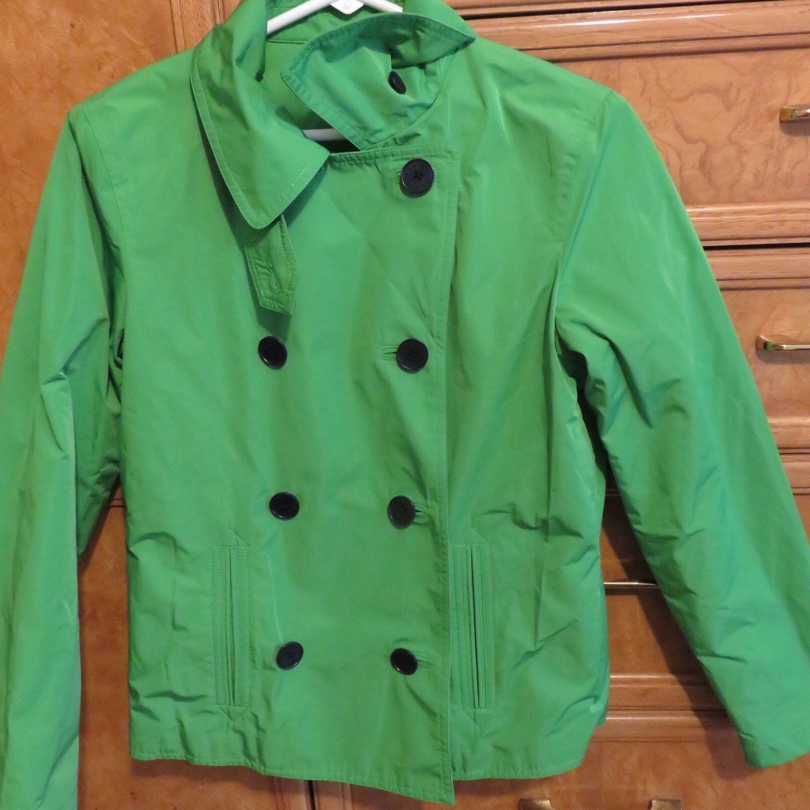 Kvinnors L -RL Ralph Lauren dubbelbröstad grön regnrock sz petite 4P NWT  198