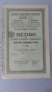 Société Alsacienne D 'edition Alsatia S.a. - Action Plus De 500 Francs - 1921-colmar-lmar Fr-fr Afficher Le Titre D'origine