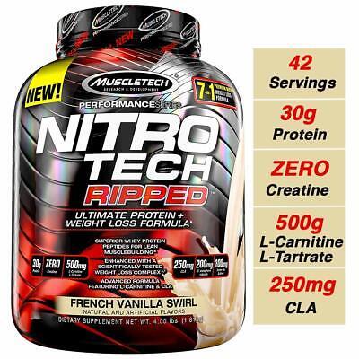 Muscletech Nitro Tech Ripped Protein 4 Lbs 42 Servings French Vanilla Swirl 631656709575 Ebay