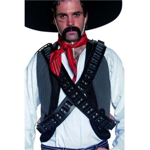 Homme Noir Western Authentique cartouchière Balle Ceinture Déguisement Cow-boy Mexicain Wi