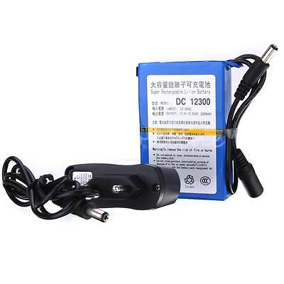 DC 12V 3000mAh Lithium-ion Super Rechargeable Battery Pack + AC Charger 2368-EU