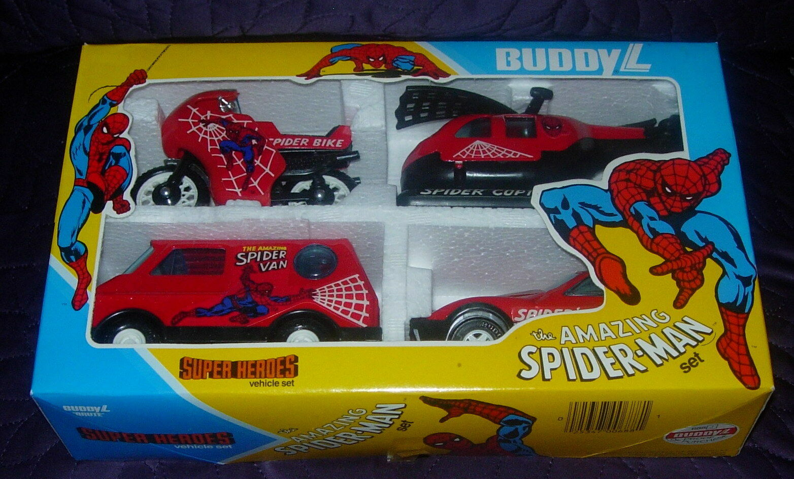 BUDDY L  AMAZING SPIDER-MAN VEHICLE SET  BOXED  1982  UNUSED  CLEAN  EARLY ISSUE