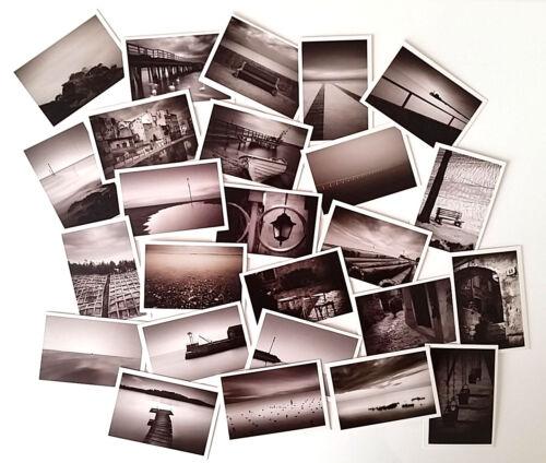 MAXI LOT 25 MINI CARTES CARTONNÉES BLANC NOIR 55mm x 80mm PAYSAGE CARTE MESSAGE