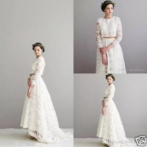 alta moda diseño exquisito última moda Vestido de novia dos Piezas Alta Baja Vestido para Boda de Encaje ...