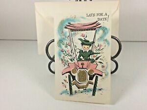 Vintage-Mid-Century-1950-039-s-Greeting-Card-034-Belated-Birthday-034-w-Envelope