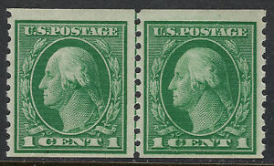 SCOTT-443-1914-1-CENT-WASHINGTON-ISSUE-LINE-PAIR-MNH-OG-F-VF-PF-CERT-CAT-210