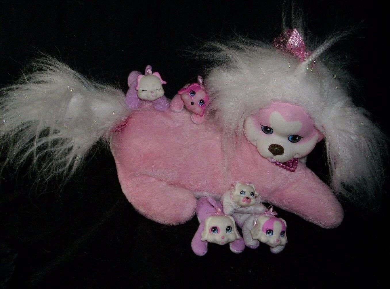 2014 JUST PLAY PUPPY PINK SURPRISE DOG W  5 BABY PUP STUFFED ANIMAL TOY PLUSH