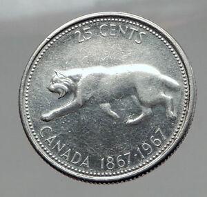 1967-CANADA-Confederation-Centennial-Silver-25-Cents-Coin-LYNX-Wild-Cat-i62914