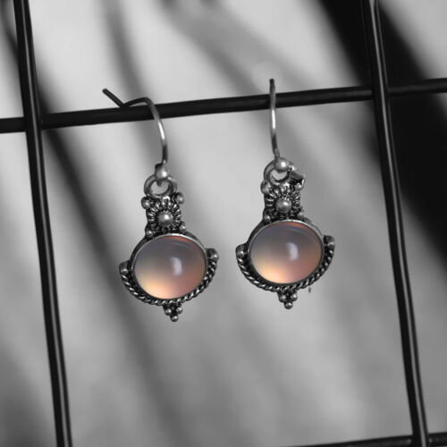 Rainbow Moonstone Gemstone Jewelry 925 Sterling Silver Dangle Earrings Newest
