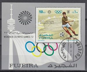 Fujeira-1971-Bl-71-A-fine-used-c-t-o-Olympische-Spiele-Olympic-Games-Fussball