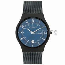 Skagen Authentic Watch T233XLTMN Blue Dial Titanium Stainless Steel Mesh Men's