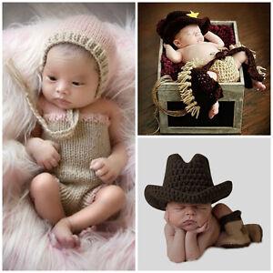 acfa9999b54 Newborn Baby Boys Crochet Knit Hat Infant Photo Photography Cowboy ...