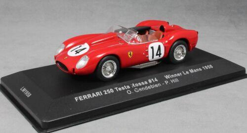 IXO Ferrari 250 Testa Rossa Le Mans 24 Hour Win 1958 Gendebien Hill LM1958 1//43