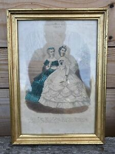 Cadre Élégante Femme Costumé Vintage Gravure de Mode Lithographie Napoléon III