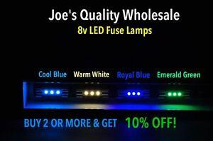 (100)WHITE/BLUE LED 8V FUSE LAMPS TUNER/DIAL/2252 RECEIVER METER /4240 4400 2230
