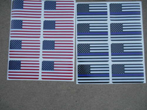 POLICE MEMORIAL STICKER OFFICER LAW ENFORCEMENT FLAG USA COMBO STICKER 24 PACK!