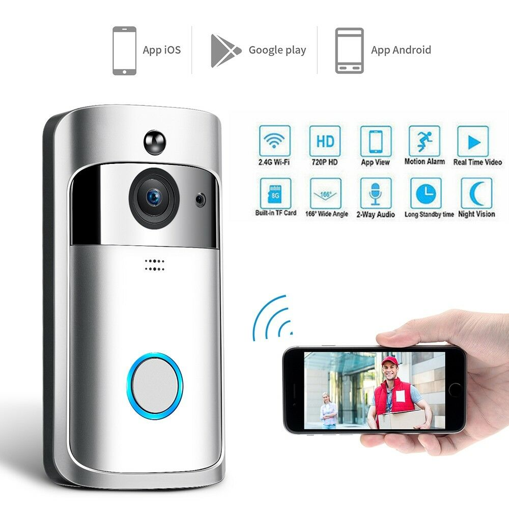 Smart Wireless 2.4G WiFi Home Security DoorBell Real Time Video 2-Way Audio HD