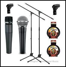 Shure SM58-SM57 Vocal Instrumental Microphones Bundle + Boom Stands xlr Cables