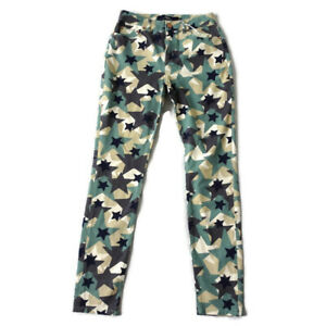 Boden-Size-8R-Green-Blue-Camouflage-Star-Print-Jeans-Trousers-Womens-NEW-BNWT