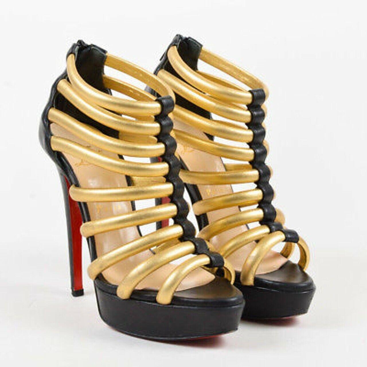 Stunning rare Christian Louboutin Ulona Gold caged heels heels heels 38 UK 5 top condition 3836eb